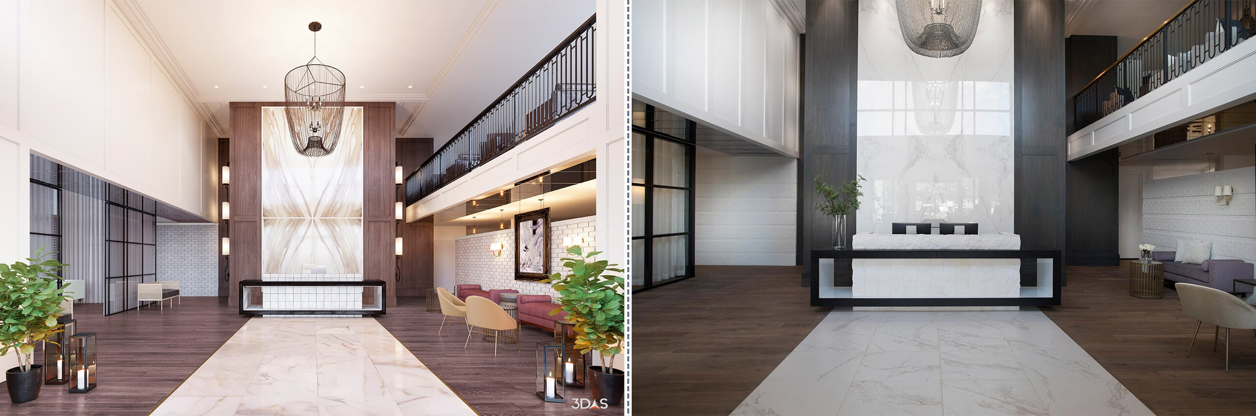 3D Rendering or Photo - Which is the Better Huntley Park Avenue Lobby Interior Image?