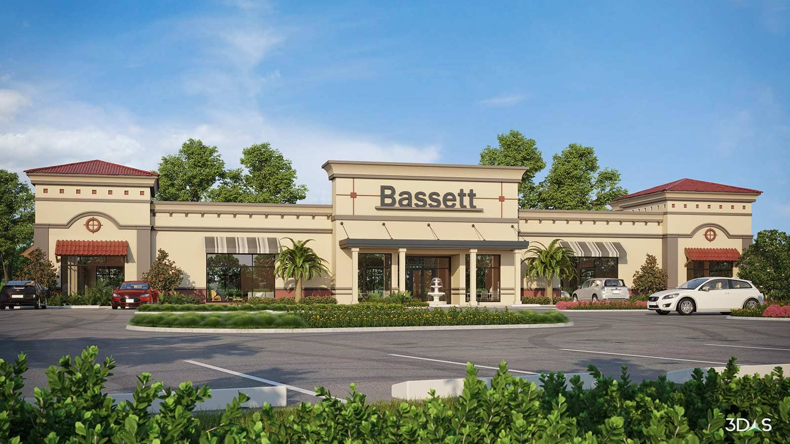 3D rendering of the Bassett Furniture store in Coconut Point mall Estero, Florida.