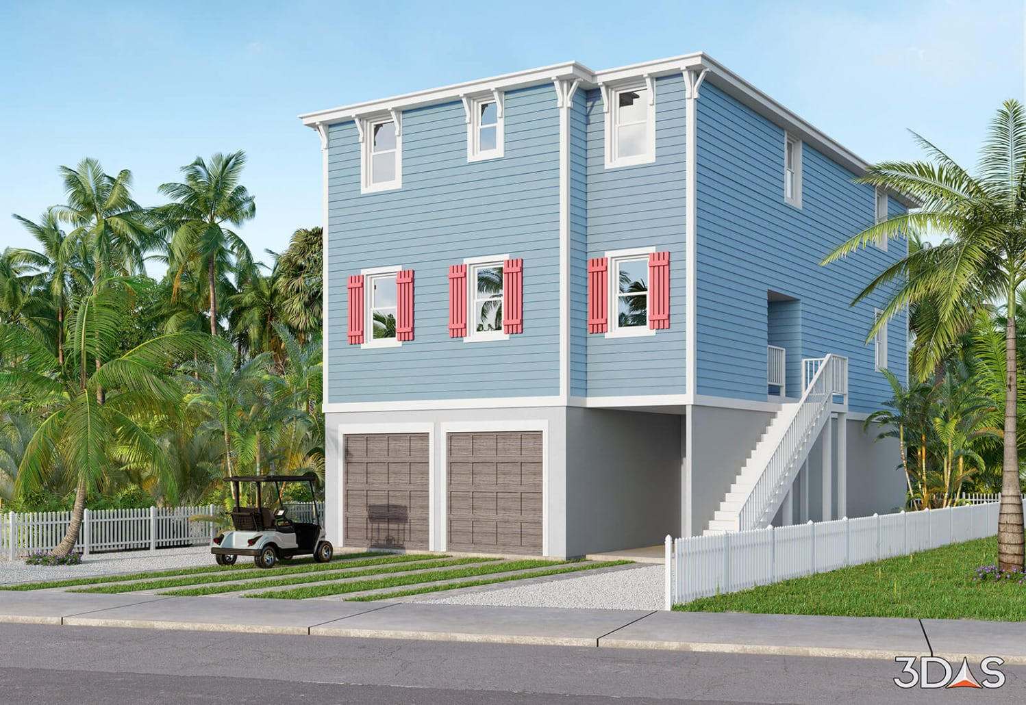 Bradenton Beach Residential 3D Rendering Exterior Perspective View