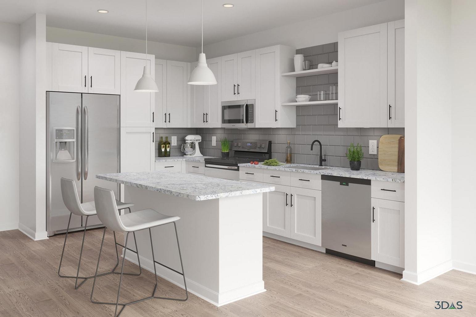 Majorca Kitchen Alternate Finishes 3D Rendering Interior by 3DAS