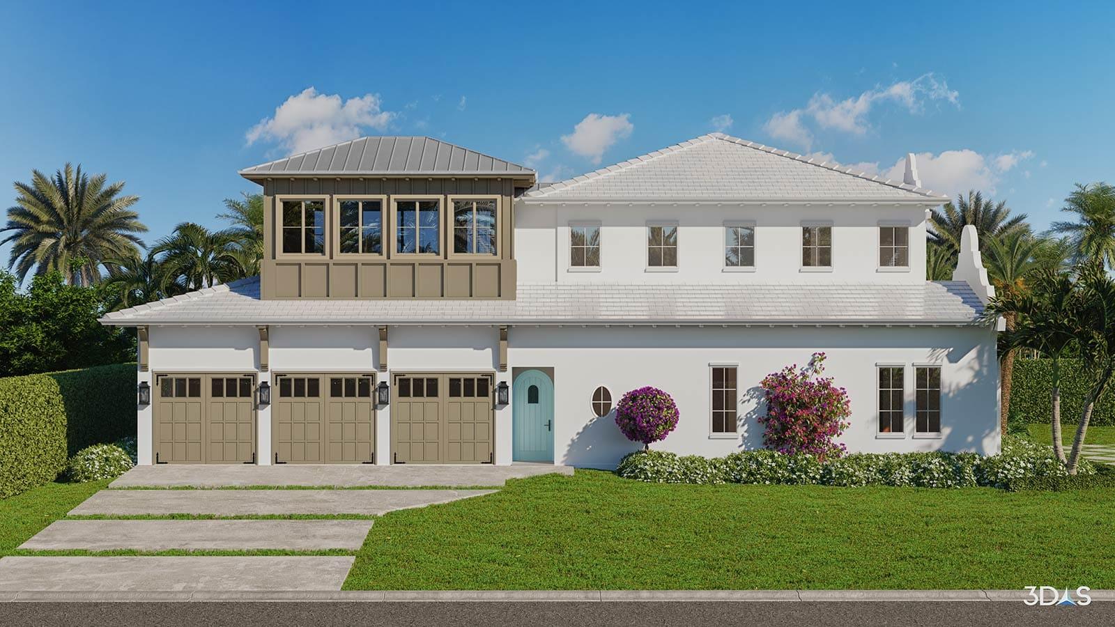 3D Elevation with Garage Doors EntryResidential 3D Rendering Naples, Florida