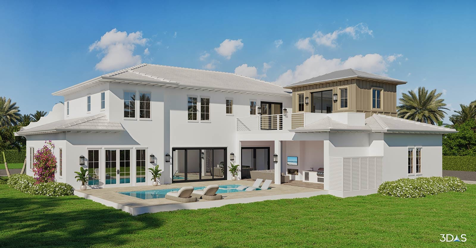 2-Story 3D Residential Home with Pool and Grill Area