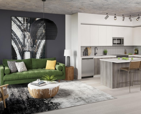 Midtown 8 Living Room and Kitchen Interior 3D Rendering