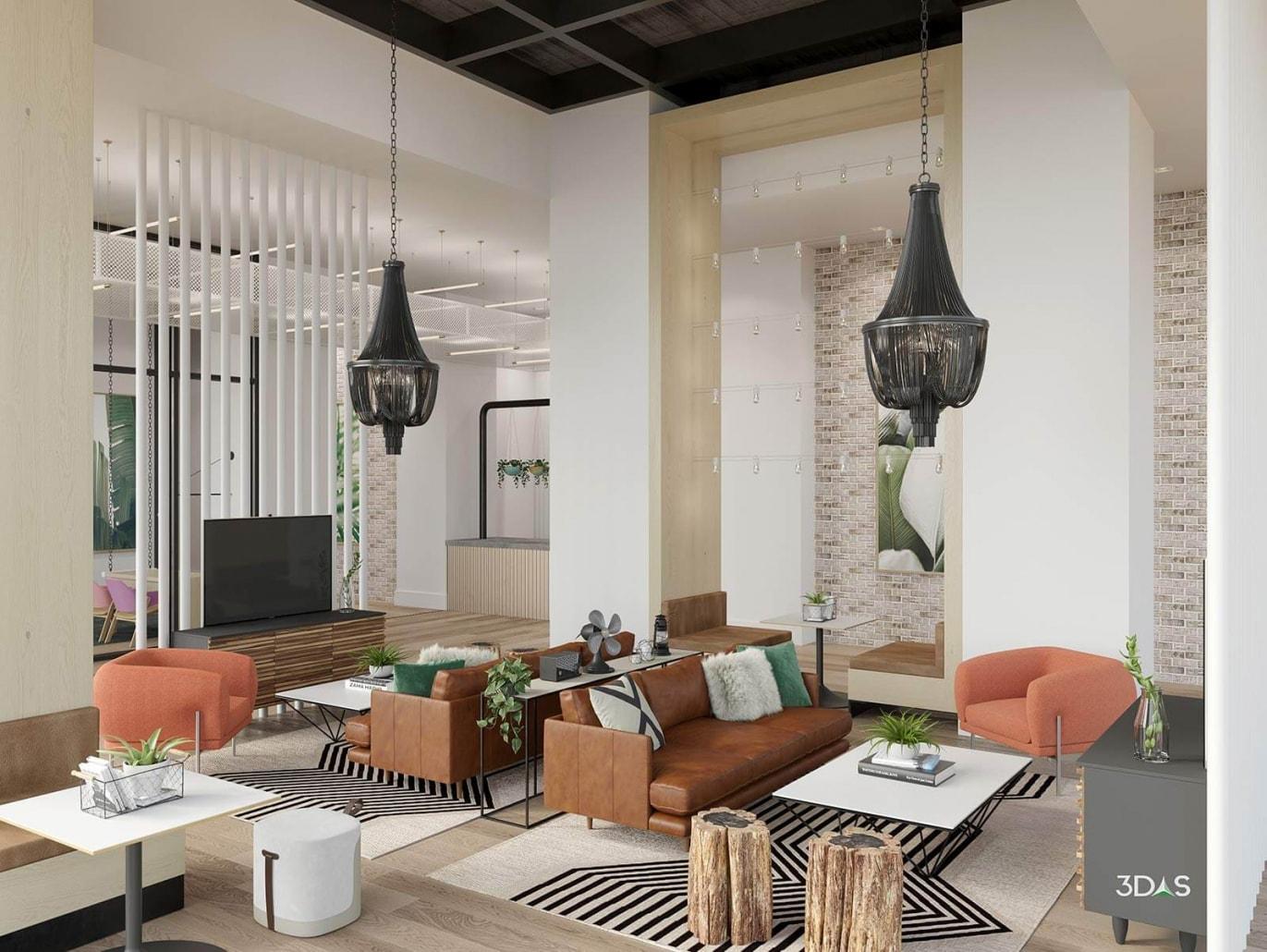 Midtown 8 Clubroom Lobby Interior 3D Rendering