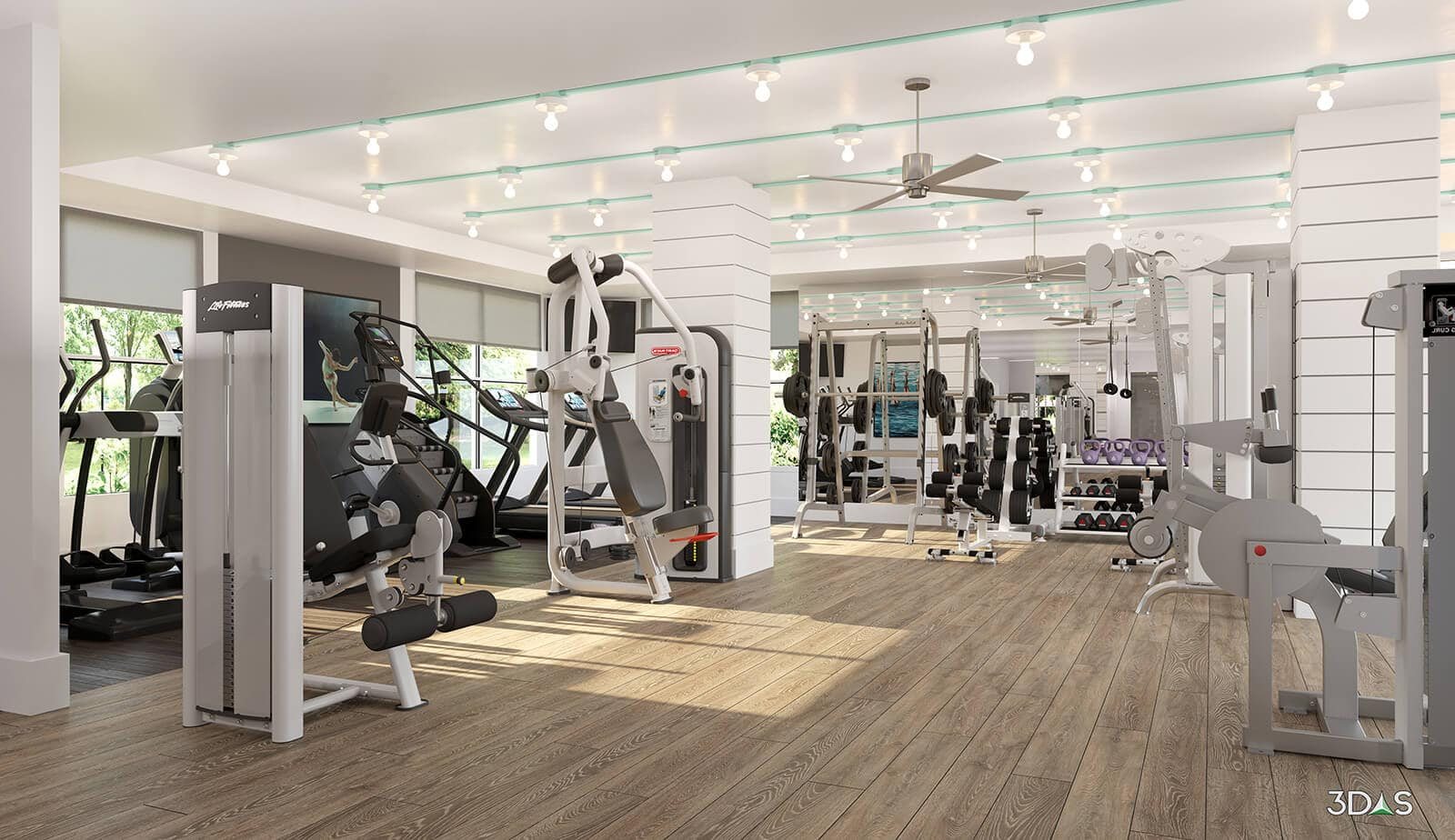 Avana Bayview is located in Pompano Beach, Florida. Fitness / Gym 3D Interior Rendering by 3DAS