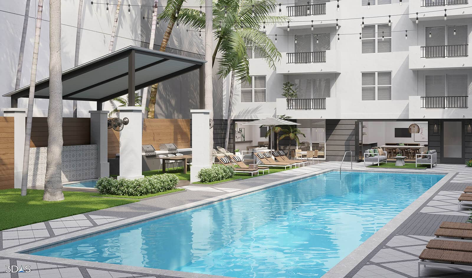 Avana Bayview is located in Pompano Beach, Florida. 3D Pool Exterior Rendering by 3DAS