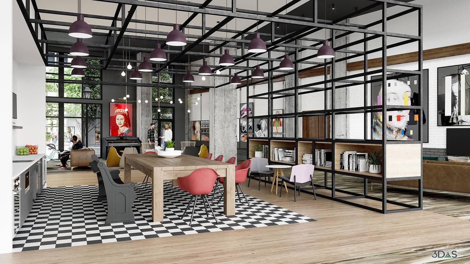 Kitchen & Lobby 3D Rendering for Elan Madison Yards in Atlanta, Georgia. 3D Rendering by 3DAS