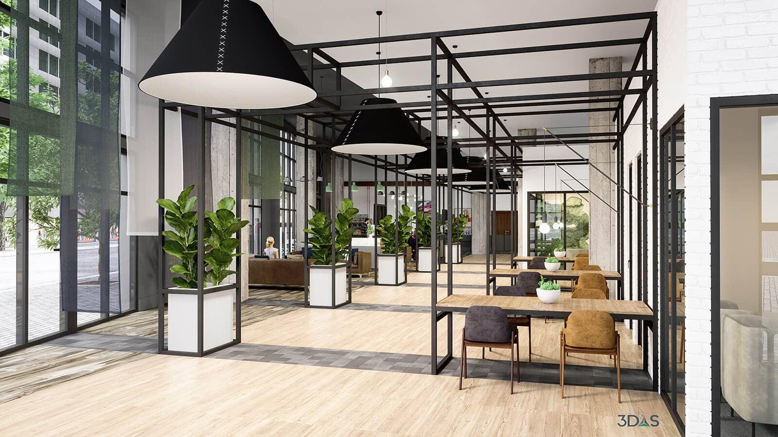 Lobby 3D Rendering for Elan Madison Yards in Atlanta, Georgia. 3D Rendering by 3DAS