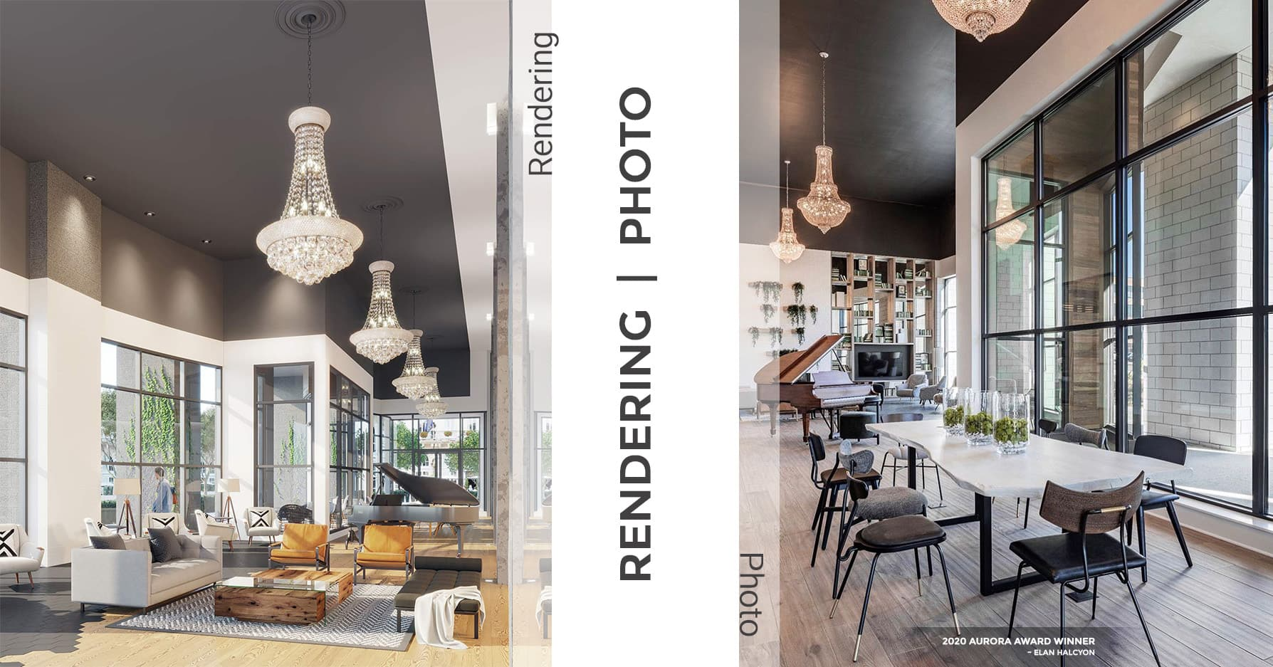 3D Rendering vs photo comparison of Halcyon's lobby area. Award-winning project is located in Alpharetta, Georgia
