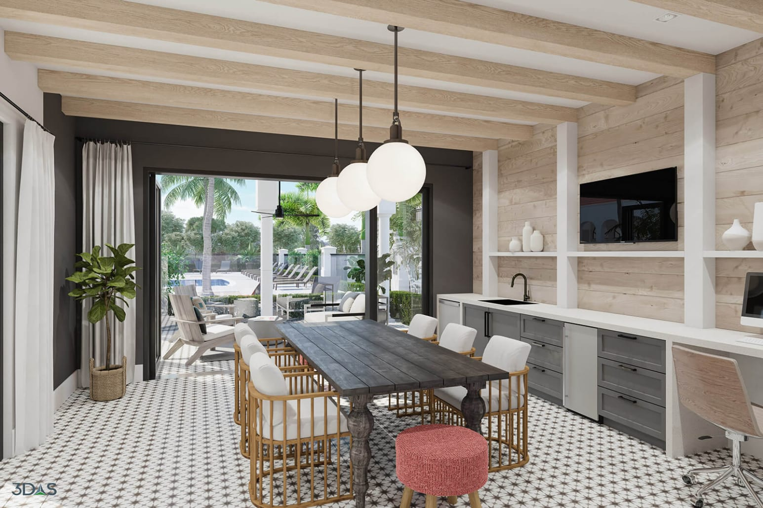 Avalia Cafe 3D Rendering (Overlooking Pool Resort). Avalia is Located in Boca Raton, Florida