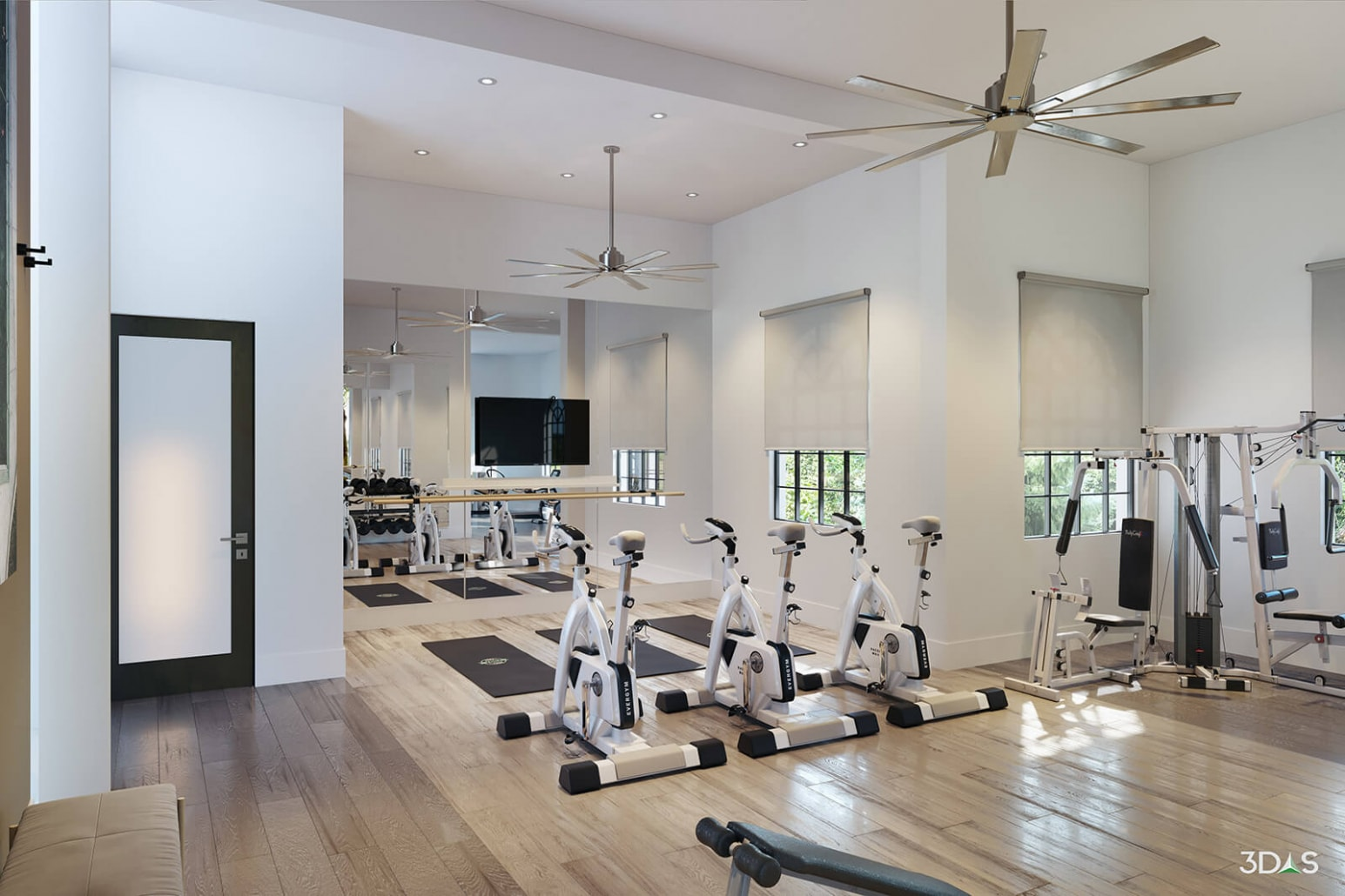 Fitness / Gym 3D Rendering. Avalia Townhouse Style Apartments are Located in Boca Raton, Florida
