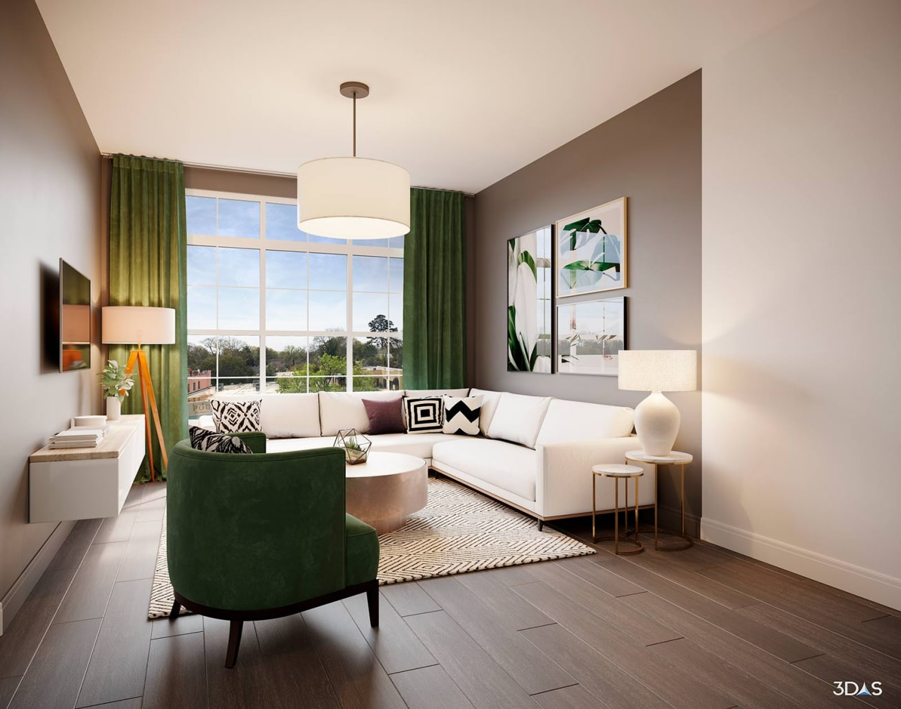Living Room 3D Rendering. Devine Maple Residences Located in Columbia, South Carolina