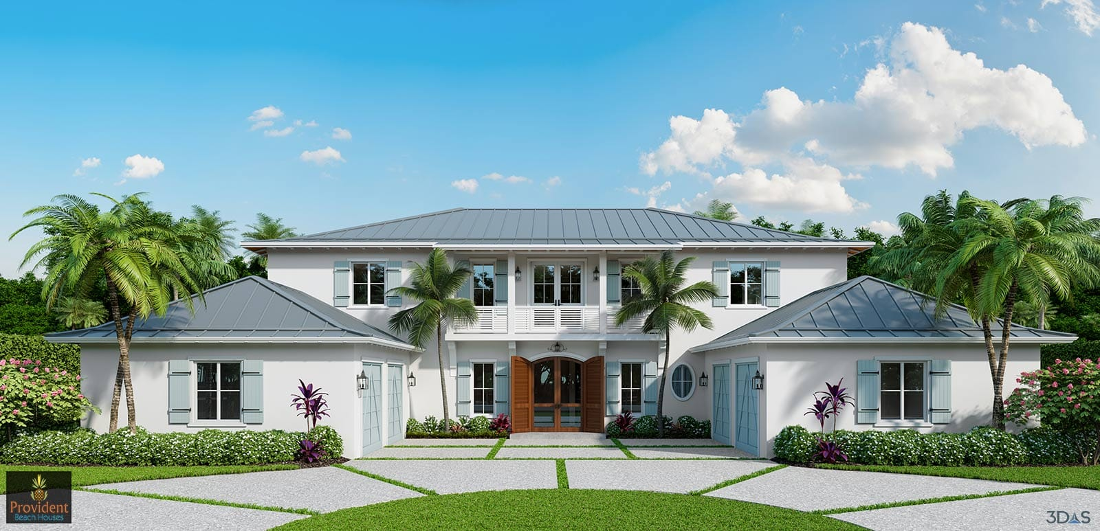 3D Elevation Front Residential 3D Rendering - Crayton Road Naples, Florida