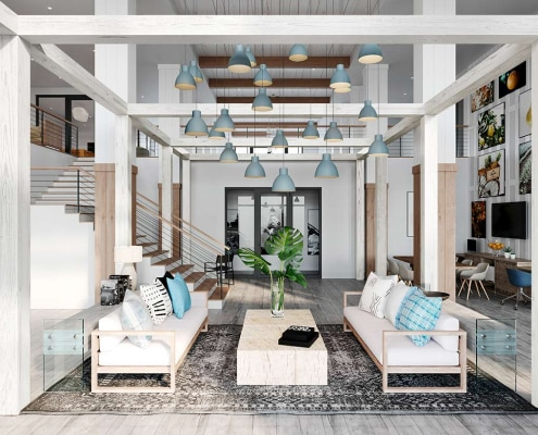 3D Architectural Interior Lobby for Lake House by Alta