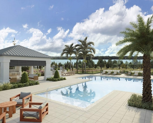 Resort Pool Overlooking Spring Lake 3D Rendering | Lake House by Alta
