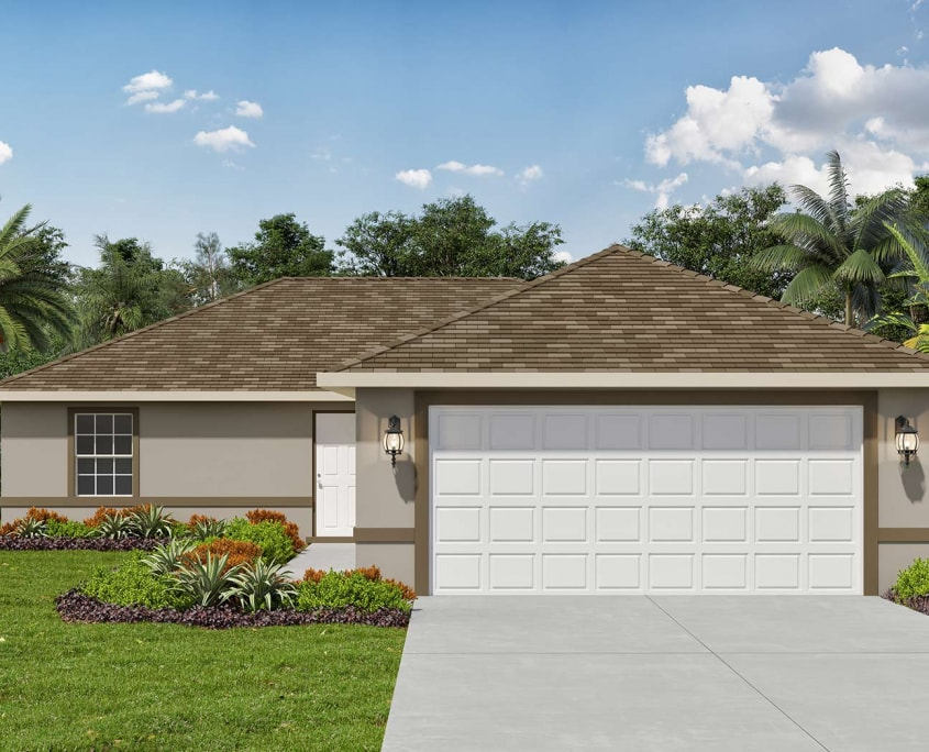 3D Rendering of Residential Home. Tropical Gulf Acres, TPG residential homes are located in Punta Gorda, Florida.