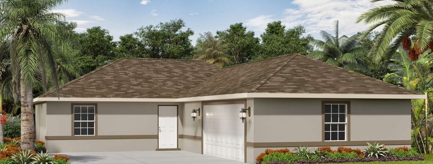 Side Garage 3D Rendering of Residential Home. Tropical Gulf Acres, TPG residential homes are located in Punta Gorda, Florida.