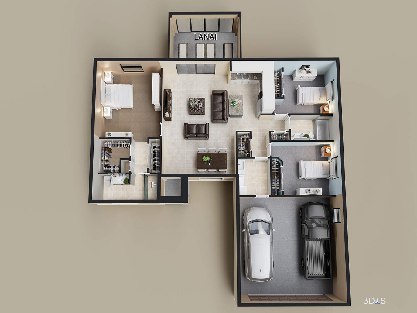 3D Rendering Floorplan Barbados Residence. Tropical Gulf Acres, TPG residential homes is located in Punta Gorda, Florida
