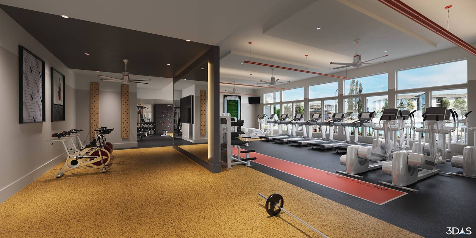 Domain at Town Center Fitness / Gym 3D Rendering