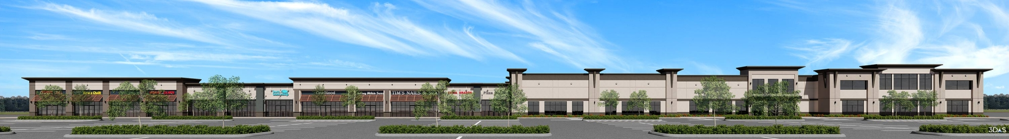 Shoppes at Plantation Exterior 3D Rendering