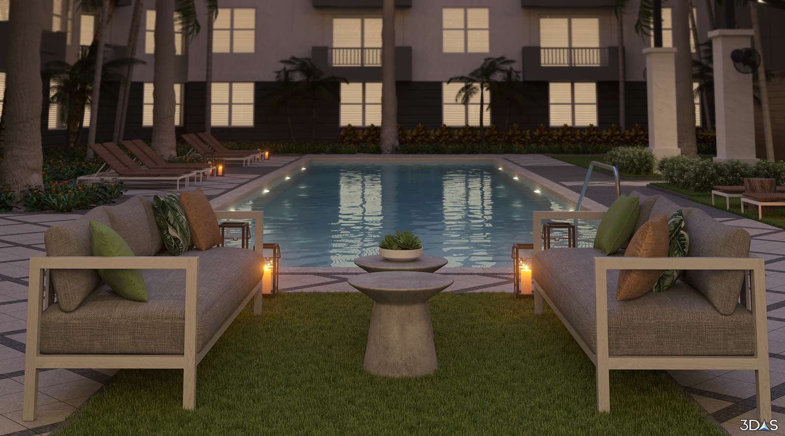 Couches Overlooking Pool Resort in Miami - Avana Bayview Apartments