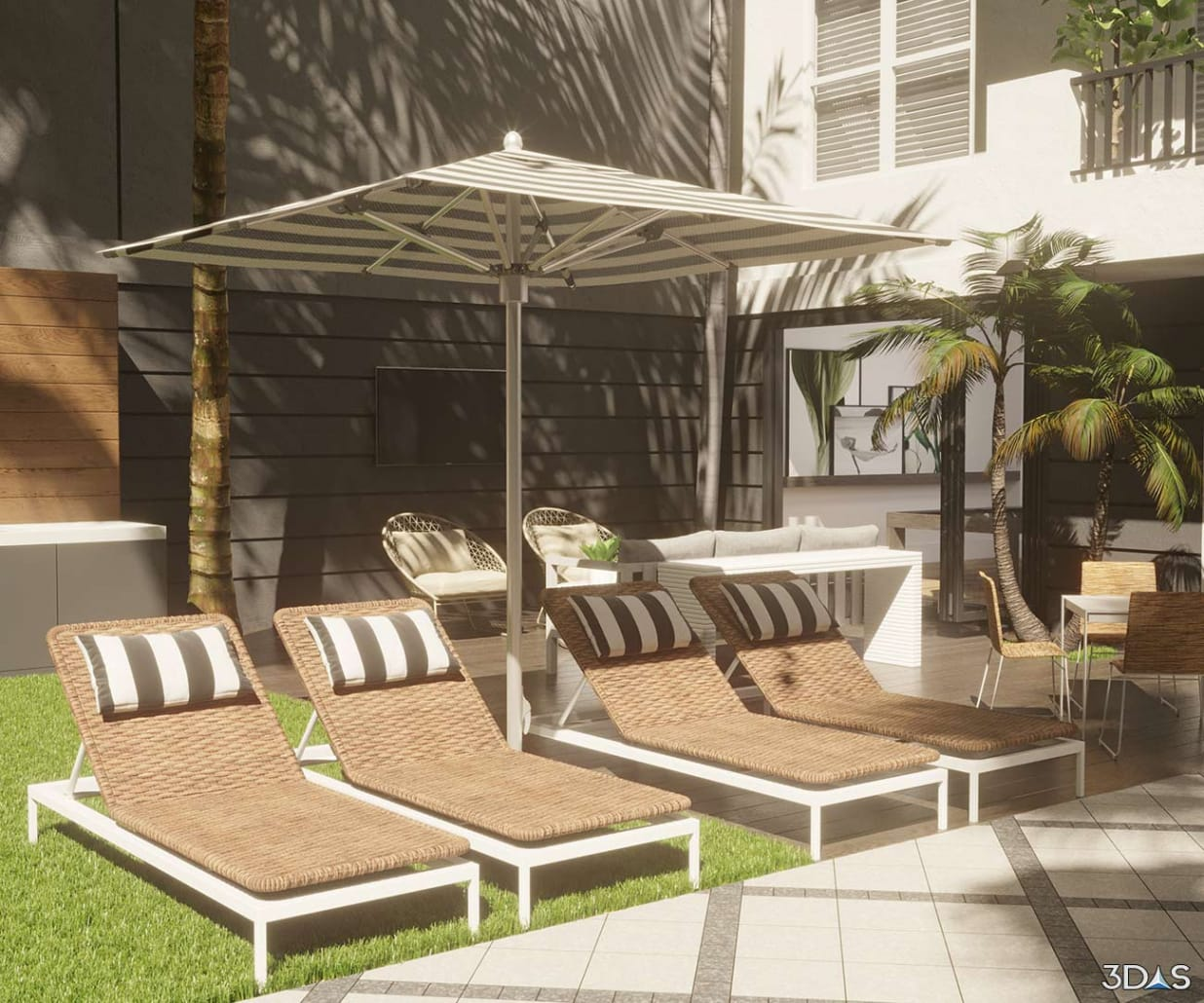 Early Morning Resort Pool Lounge Area 3D Rendering