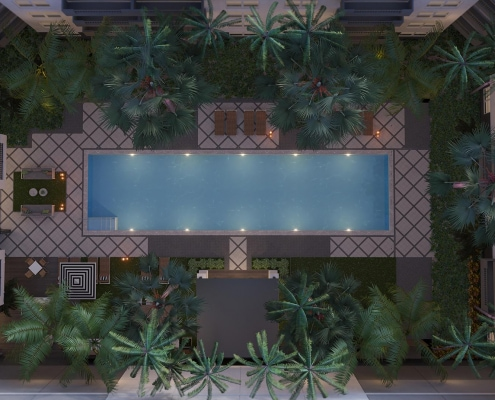 Dusk Pool Resort Floorplan / Birds Eye 3D Rendering for Avana Bayview