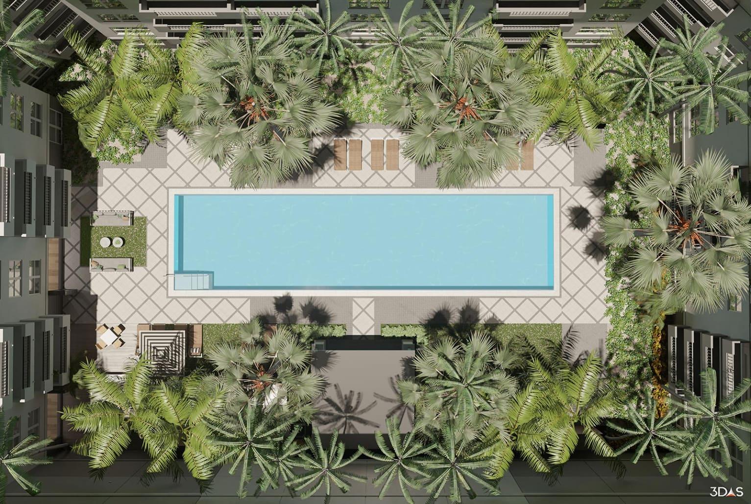 Daytime Pool Resort Floorplan / Birds Eye 3D Rendering for Avana Bayview