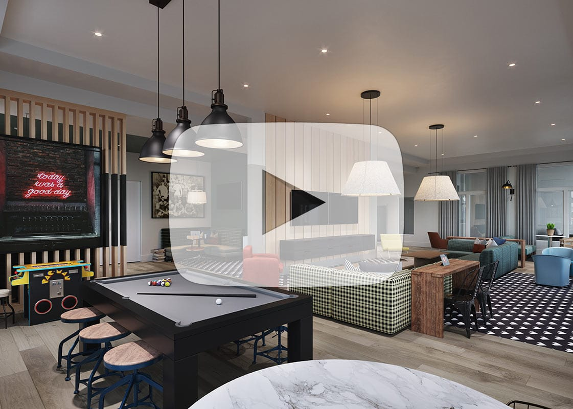Clubroom Interior Animation: Game Room, Entertainment and Den Areas - Click to Play Video