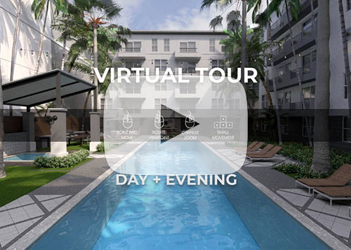 View Day and Evening Pseudo Virtual Tour of Resort Pool Apartment Complex