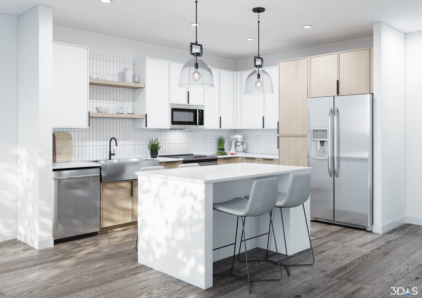 3D kitchen concept rendering for Alta Health Village in Orlando, Florida