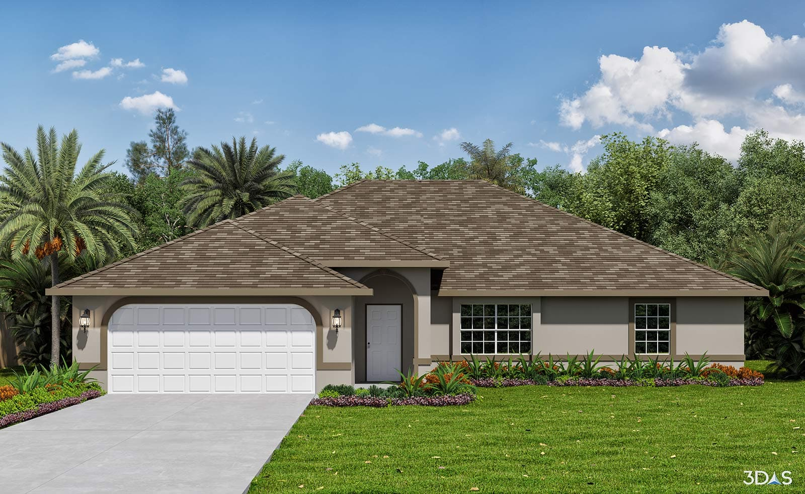 Residential Home 3D Rendering in Tropical Gulf Acres, Punta Gorda, Florida