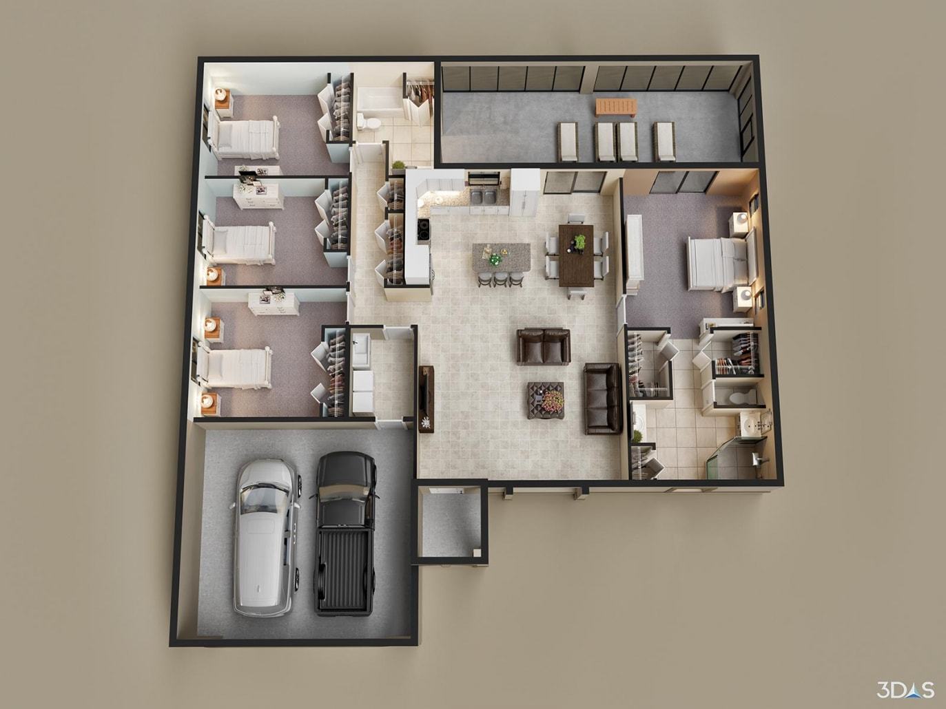 3D Rendering Floorplan Antigua Residence. Tropical Gulf Acres, TPG is located near Punta Gorda, Florida