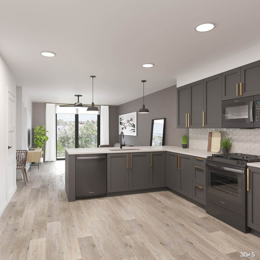 908 Division Residential Home Kitchen 3D Rendering in Nashville, Tennessee