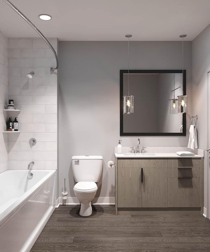 3D bathroom concept rendering for Alta Health Village in Orlando, Florida