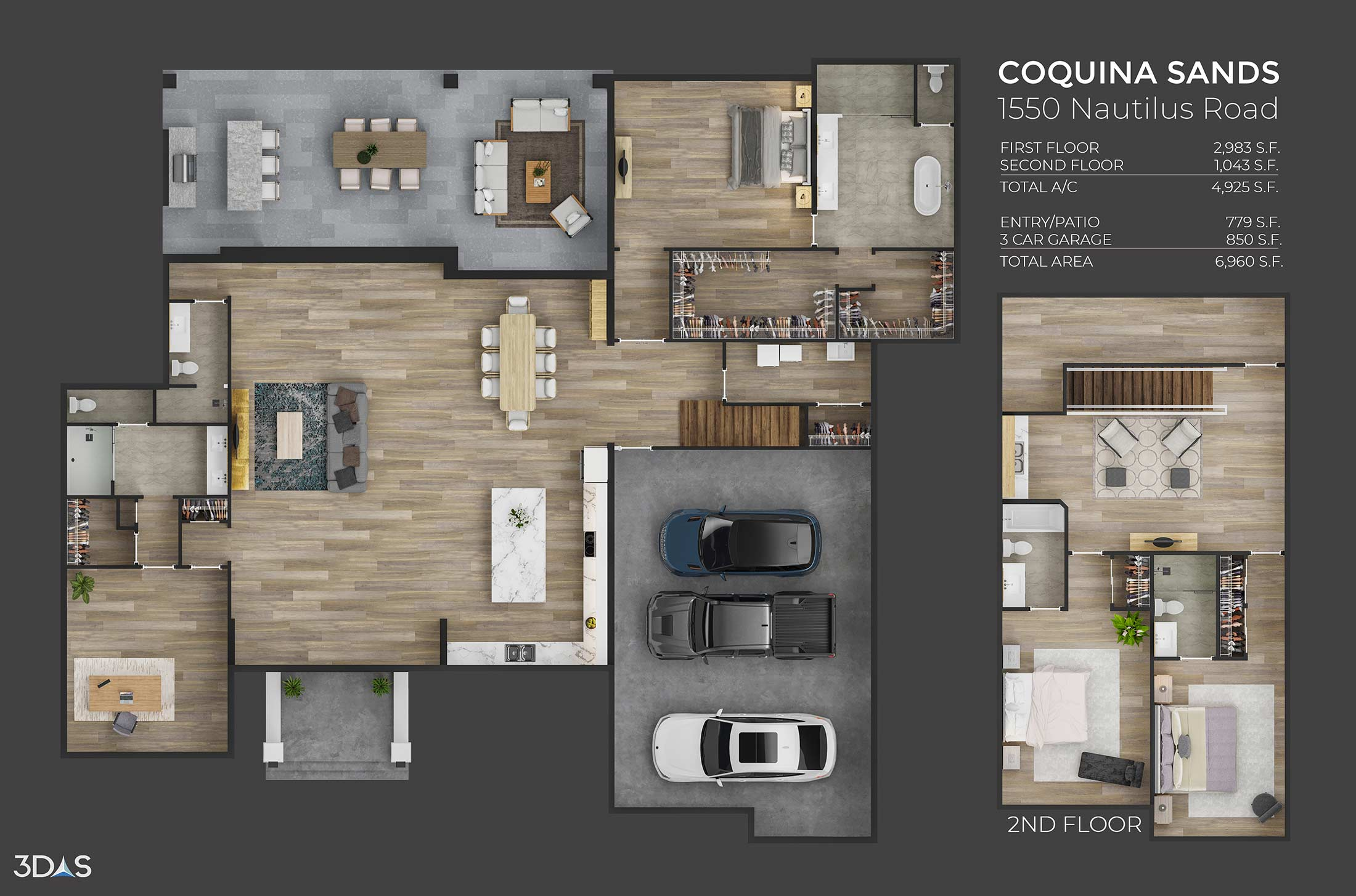 1st and 2nd story 3D floorplan for a residential home in the Coquina Sands community. 1550 Nautilus is located in Naples, Florida.