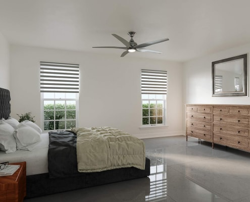 Located at 200 Gardens Edge Drive in Venice, Florida, this is a master bedroom 3D rendering for Magnolia Park Condos