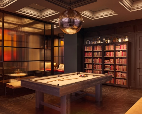 Sunset / Evening View of Library with Pool Table, Bookshelf and Drinks