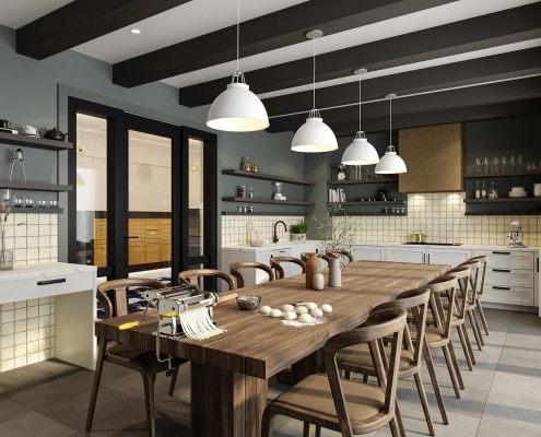 Maker includes a combo group kitchen table and kitchen equipment. Make and create in this culinary kitchen.
