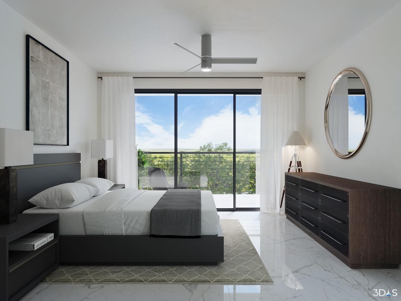 Located at 5247 Desoto Road in Sarasota, Florida. Bedroom 3D rendering is for Grande Oaks Preserve townhomes.