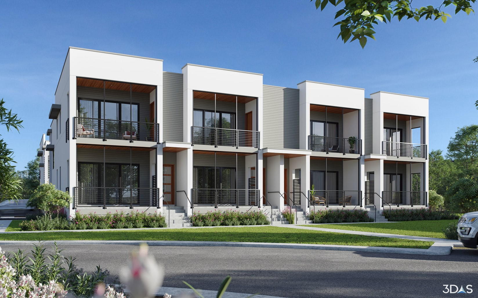 Located at 5247 Desoto Road in Sarasota, Florida. Daytime 2-Story 3D rendering exterior is for Grande Oaks Preserve townhomes.