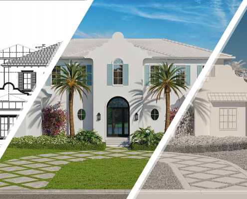 3D Elevation Process: Starting with CAD elevations, we convert to a clay rendering (no materials), add color + lighting and create the final 3D architectural exterior rendering