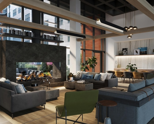 Clubroom Interior 3D Rendering for Federal Hill located in Baltimore, Maryland.