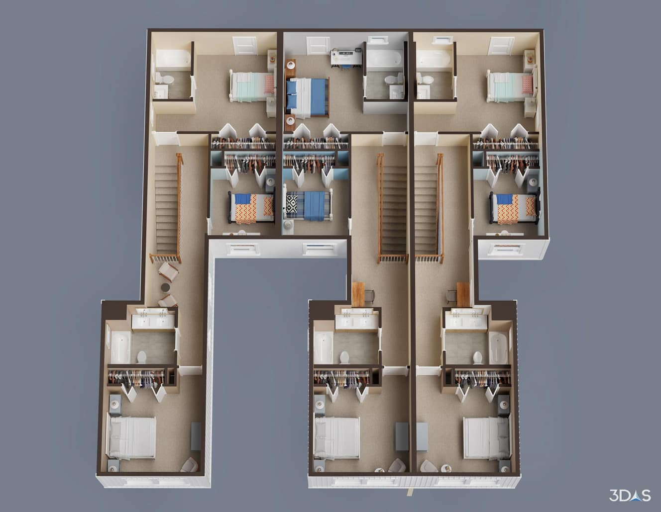 Affordable home 2nd floor 3D rendering. Habitat for Humanity Collier's Kaicasa.