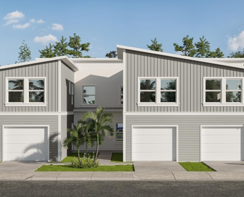 Kaicasa 3D Elevation Rendering. Triplex two-story contemporary residential architecture.