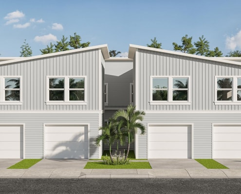 Kaicasa 3D Elevation Rendering. Quadruplex two-story contemporary residential architecture.