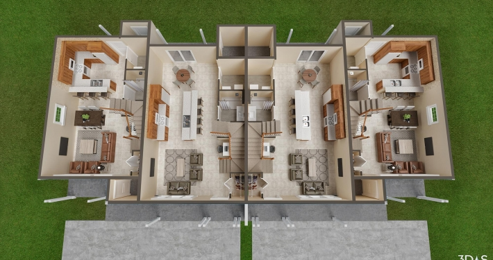 Affordable home 1st floor 3D rendering. Habitat for Humanity Collier's Whitaker Woods.