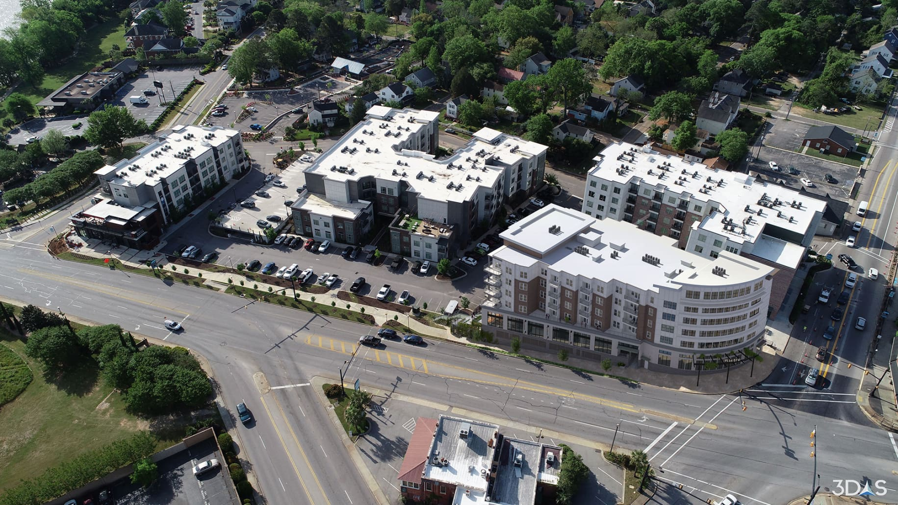 Brookland Aerial Drone Photo Montage with 4 West 3D Rendering